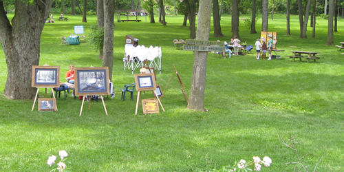 Plein air painters at Adams Mill